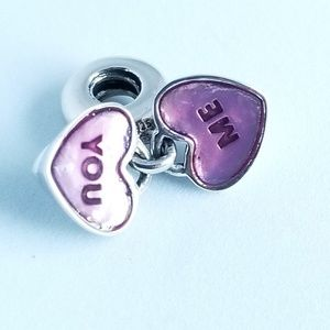 PANDORA You & Me Heart Charm  Dangle Silver 925